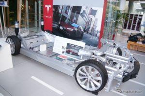 テスラモデルSの電池設置状況